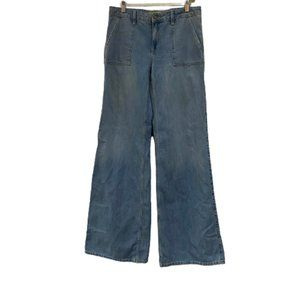 Zara Z1975 Unisex Mid Rise Wide Leg Basic Denim Blue Jeans Wide Size 8